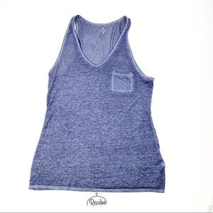 Athleta Blue Burnout V-neck Pocket Tank D3552
